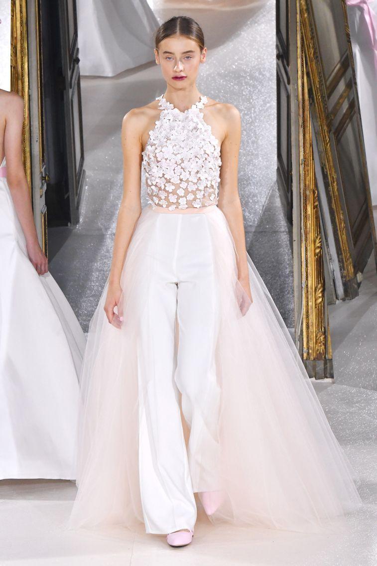 Kaviar Gauche Spring 2018 Wedding Dresses La Vie En Rose halter neck 3d floral applique trouser wedding dress #weddingdress #weddinggown