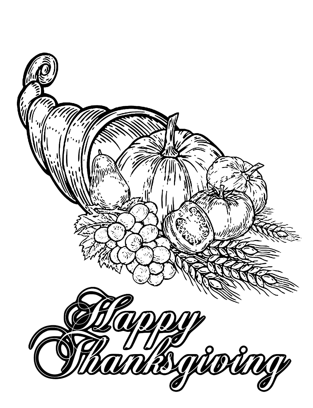Happy Thanksgiving Happy Thanksgiving Coloring Page From The Galle Thanksgiving Coloring Pages Free Thanksgiving Coloring Pages Thanksgiving Coloring Sheets [ 1302 x 1000 Pixel ]