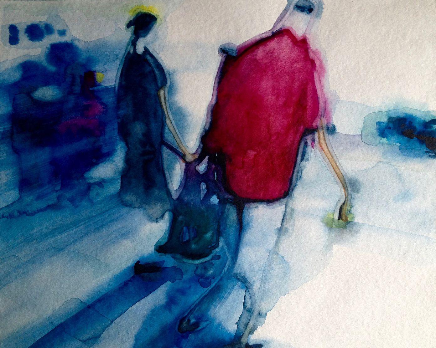 Pierre Renollet | Serie sur le thème du flou, perception différente de  scènes du quotidien. Vision abstraite. Waterco… | Watercolor Painting,  Aquarelle | Water…