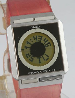 02dd3281254d VINTAGE CASIO FILM WATCH FS-02 DIGITAL DATA BANK WORLD TIME USED GOOD PINK  BAND