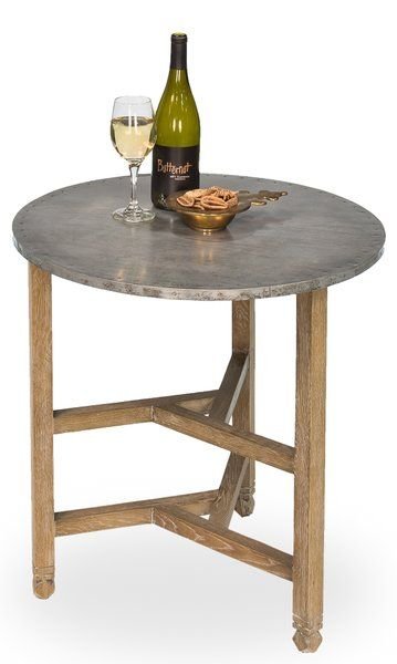 Oak Circular Table With Galvanized Tin Top Free Shipping