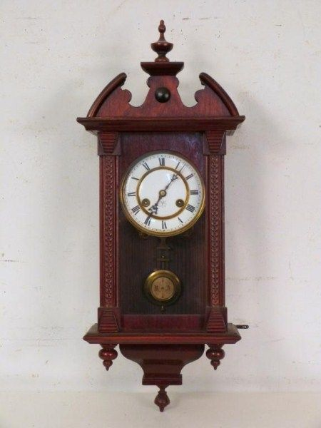 Unghans Mahogany Hanging Wall Clock Carved Scale Columns With