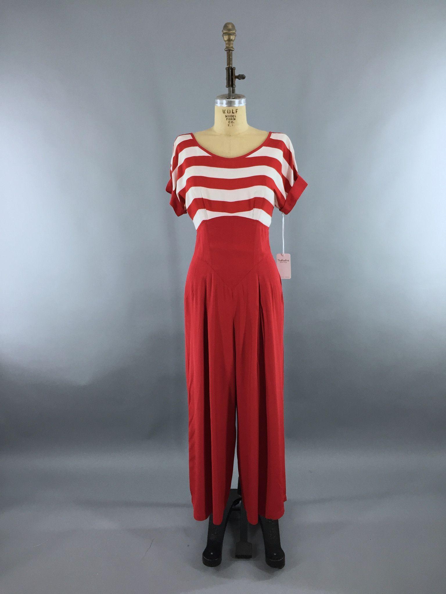 d18b7123b052 Vintage 1980s Jumpsuit   Beach Pajamas   Red   White Nautical Breton Stripes    Romper
