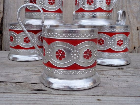 Vintage Glass Holders Set of 6 USSR Aluminum by GuestFromThePast