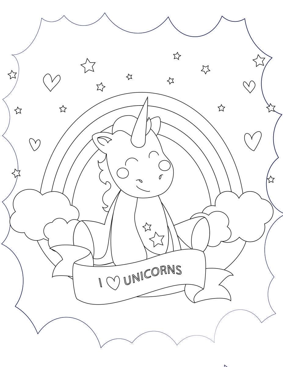 J aime les licornes  imprimer et colorier