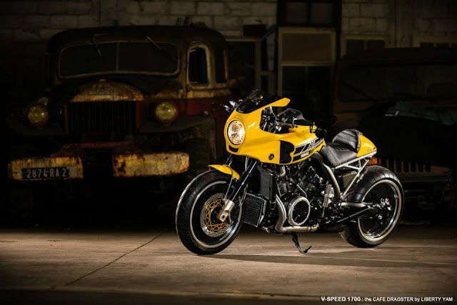 """Yamaha VMAX Cafe Racer V-Speed 1700 """"the Cafe Dragster"""" by Liberty Yam #motorcycles #caferacer #motos 