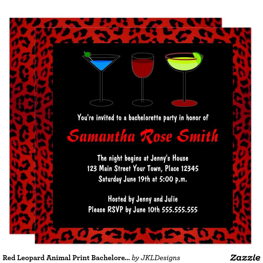 Red Leopard Animal Print Bachelorette Party Invite | Bachelorette ...