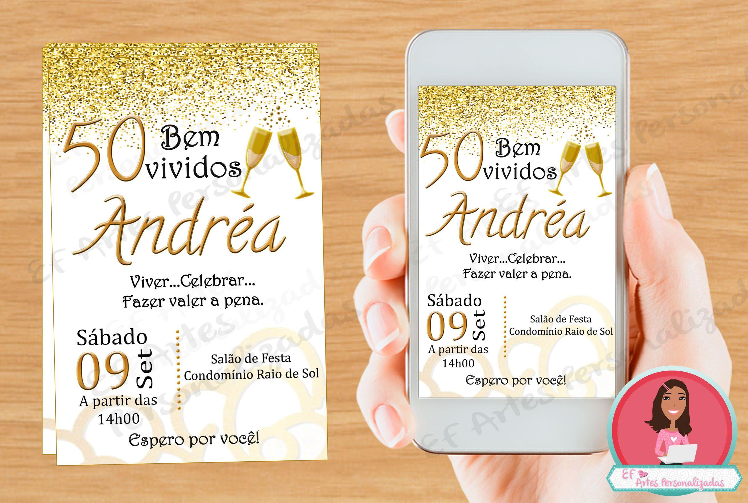 Mensagem De Aniversario De 50 Anos Para Amiga: Convite Dourado, Convite 50 Anos, Convite Dourado 50 Anos