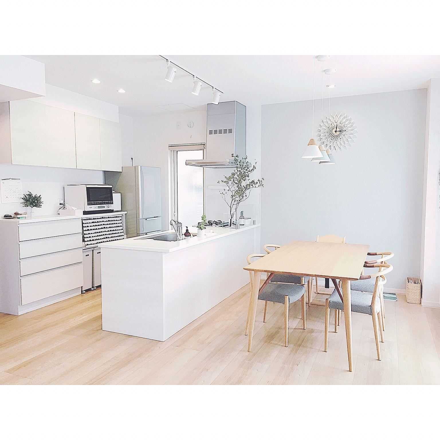キッチン 北欧 ブルーグレー 壁紙 アクセントクロス などのインテリア実例 17 10 15 13 46 27 Roomclip ルームクリップ 和風の家の設計 無印良品の家 キッチンインテリアデザイン