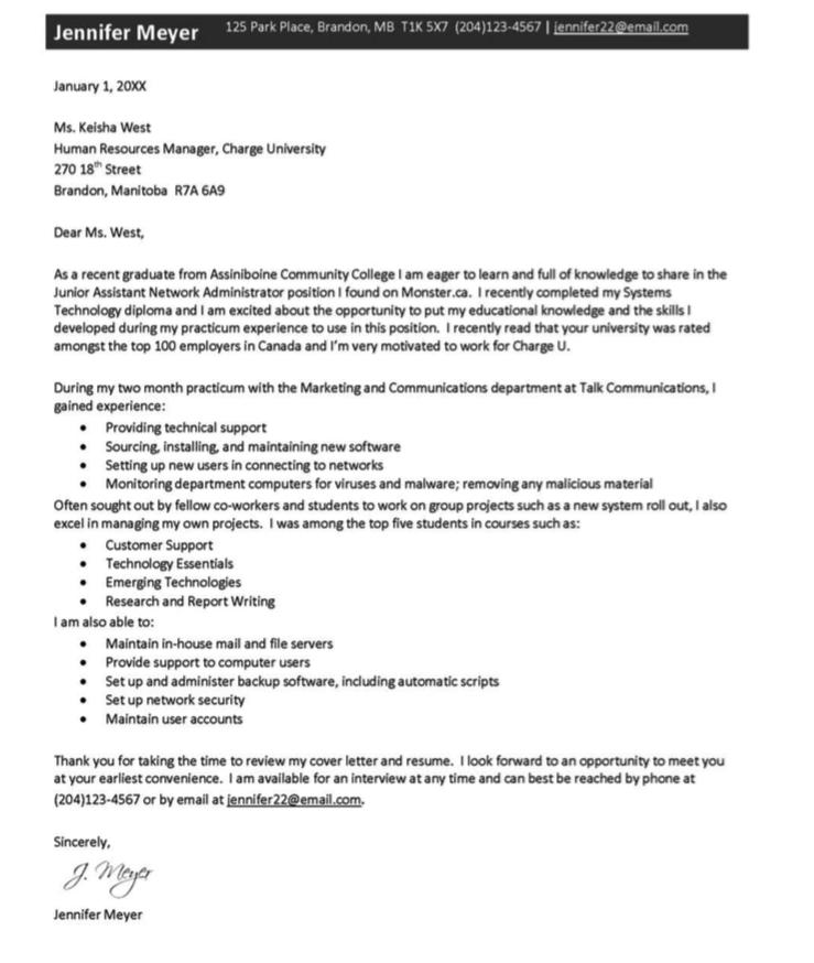 New Graduate Cover Letter  HttpExampleresumecvOrgNew
