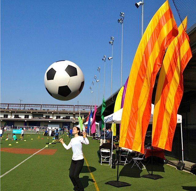 Made in our shop a 4' dia soccer ball with a weather balloon inside. Our Feather Banners and Outdoor Freestanding Base Systems shown to the right. We installed 50 of these banners for this event