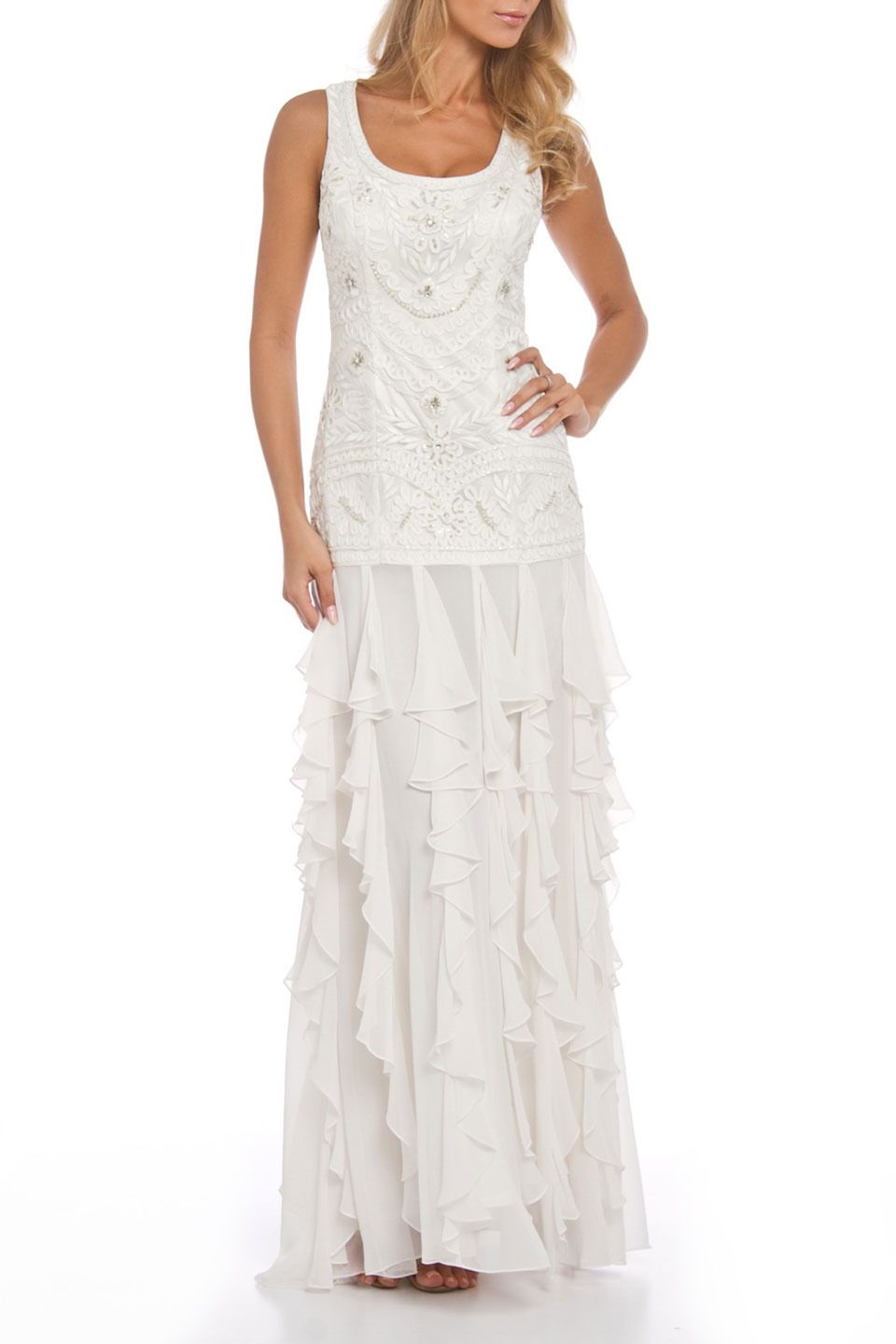 Sue Wong Illusion Yoke Beaded Crystal Encrusted Ball Gown In White Beyond The Rack