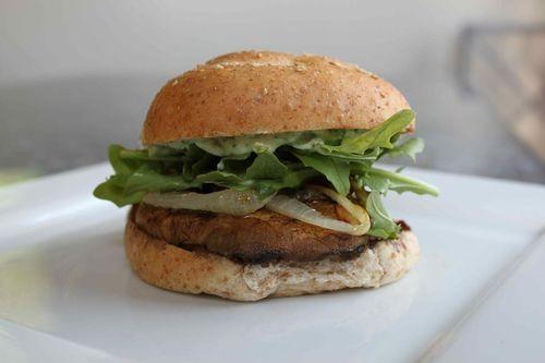 Grilled Portobello Mushroom Burger with a Pesto Aioli