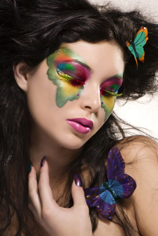 "Colorful and artistic butterfly make-up ""mask"" enhanced with crystals. ""Butterfly"" by vanesaK on deviantART."