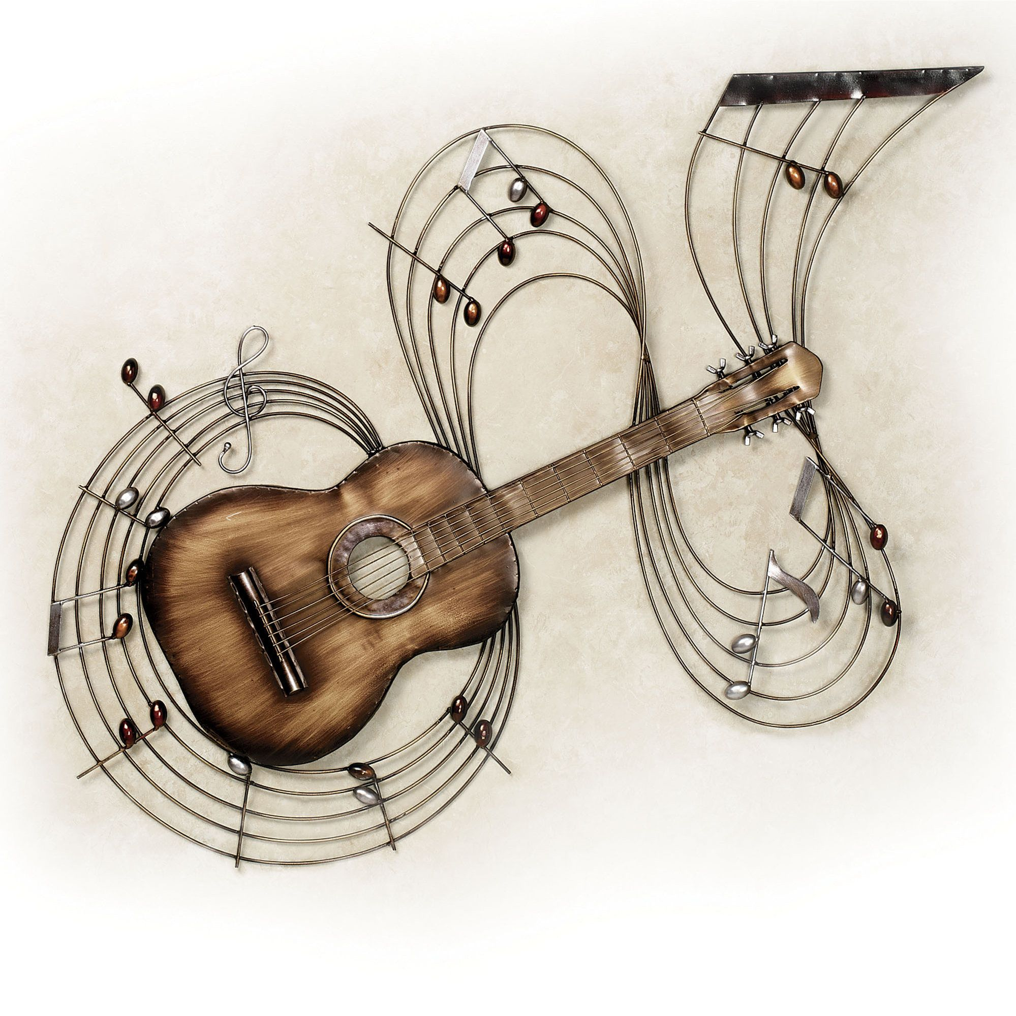 Within the music guitar metal wall art metal wall art for Acoustic guitar decoration