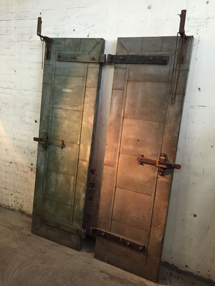 Vintage Pair Industrial Tin Clad Fire Doors Forged Steel Hardware 1930s Hanging Fire Doors