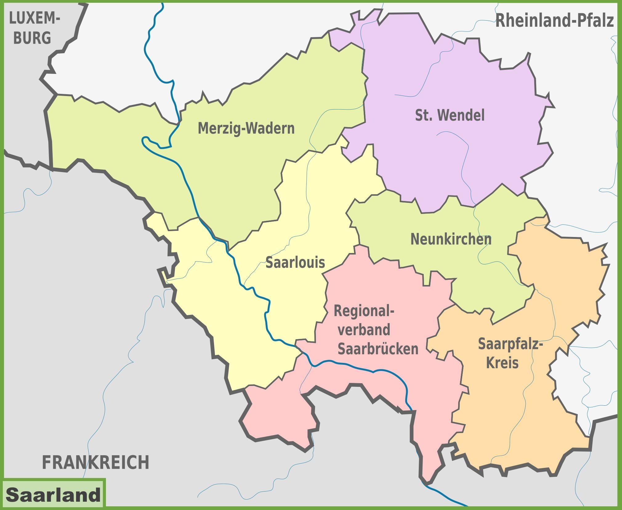 Saarland Map Saarland Saarland Jugendamt Saarlouis