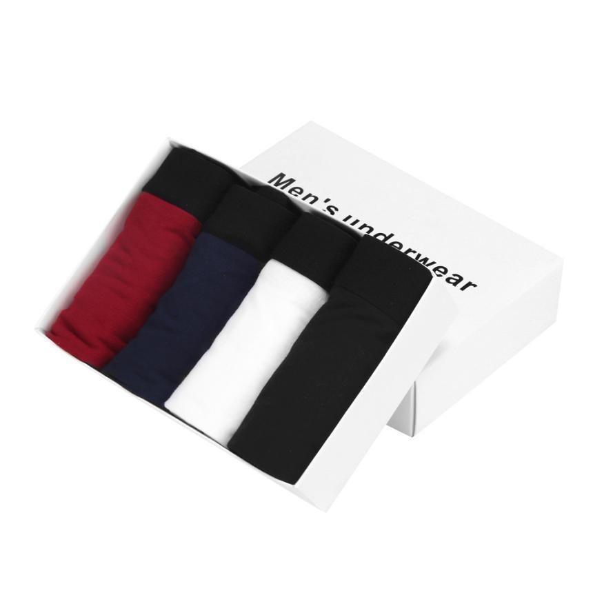 4 pcs New Style 2017 Fashion Men's Underwear Bulge Pouch Trunks Boxer Soft Shorts Underpants Large Size L~XXXL
