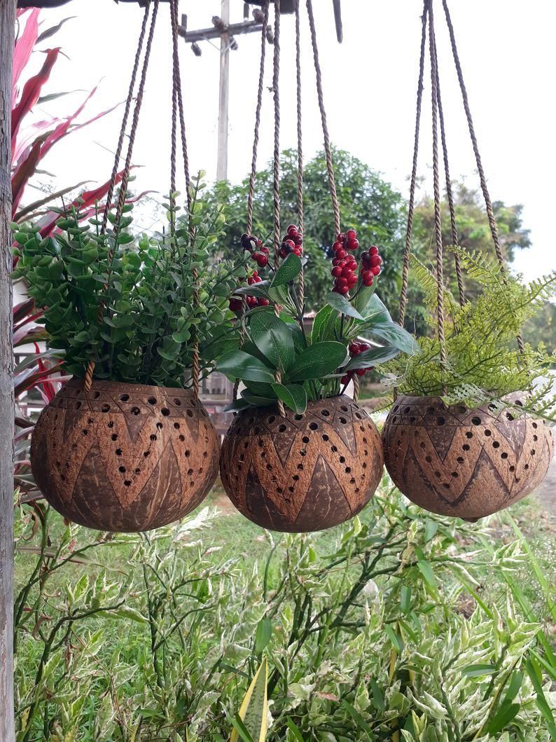 Set 4 Pcs Coconut Shell Hanging Pots Planter,Candle Holders,Hanging planter,hanging planter indoor,pots for plants,hanging planter Unique