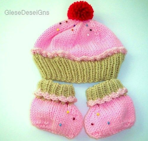 Hand Knit Pink Cupcake Hat and Booties Newborn with Pom Pom ...
