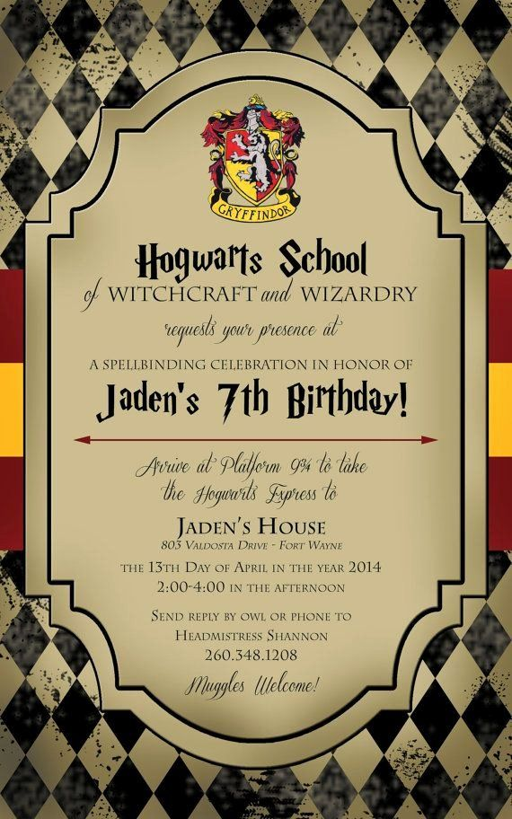 Harry Potter Birthday Invitation Template Lovely Harry ...