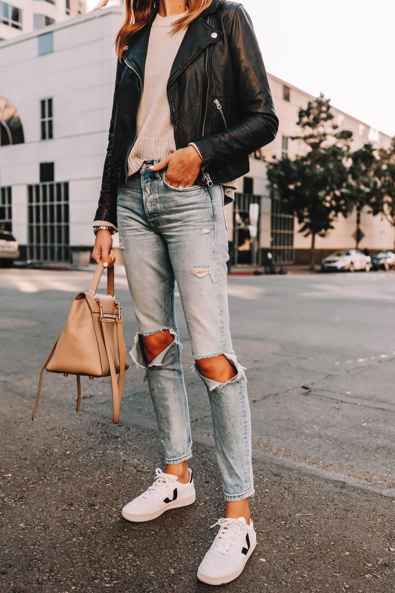 Fashion Jackson Wearing Madewell Black Leather Jacket Grey Sweater Boyish Ripped Jeans Black Leather Jacket Outfit Leather Jacket Style Womens Fashion Jackets [ 1980 x 1320 Pixel ]