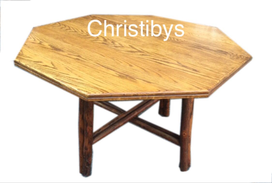 Old Hickory Signed Hexagon Dining Table Double Log Legs And Stretchers Double Bullnose Table Edge Available Christibys Dining Table Old Hickory Dining