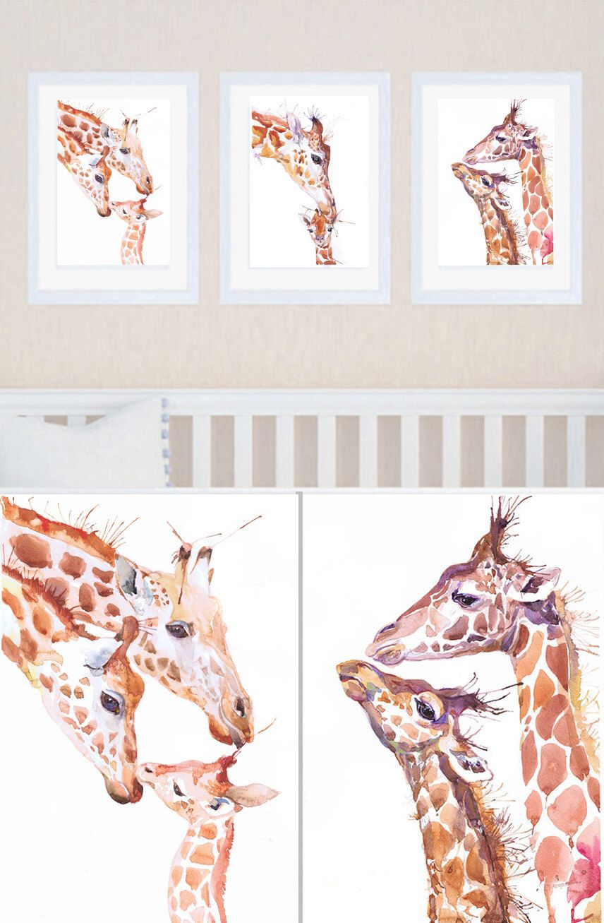 Giraffe Nursery Art Set Of 3 Prints Painting Watercolor Boy Decor Baby Three Safari By Valrart On Etsy