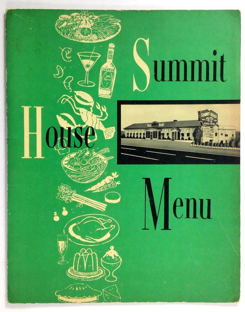 1960's Vintage Menu THE SUMMIT HOUSE Restaurant Branford