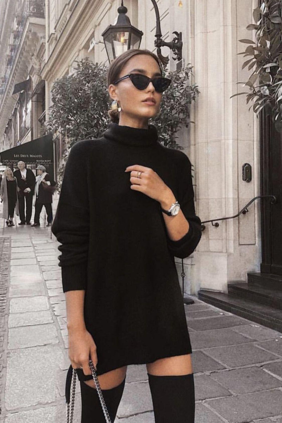 Black Boo Dress Fall Fashion Knee Street Styles Street Styles 2020 Street Styles Edgy Street Styles O Street Style Chic Fashion Fashion Inspo Outfits [ 1687 x 1125 Pixel ]