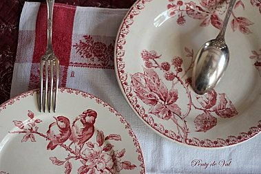 Beautiful red and white plates. Love them