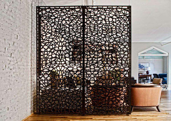 Kreative Raumteiler Raumtrennung Einbau Schrank Regale Holz Tür öffenbar