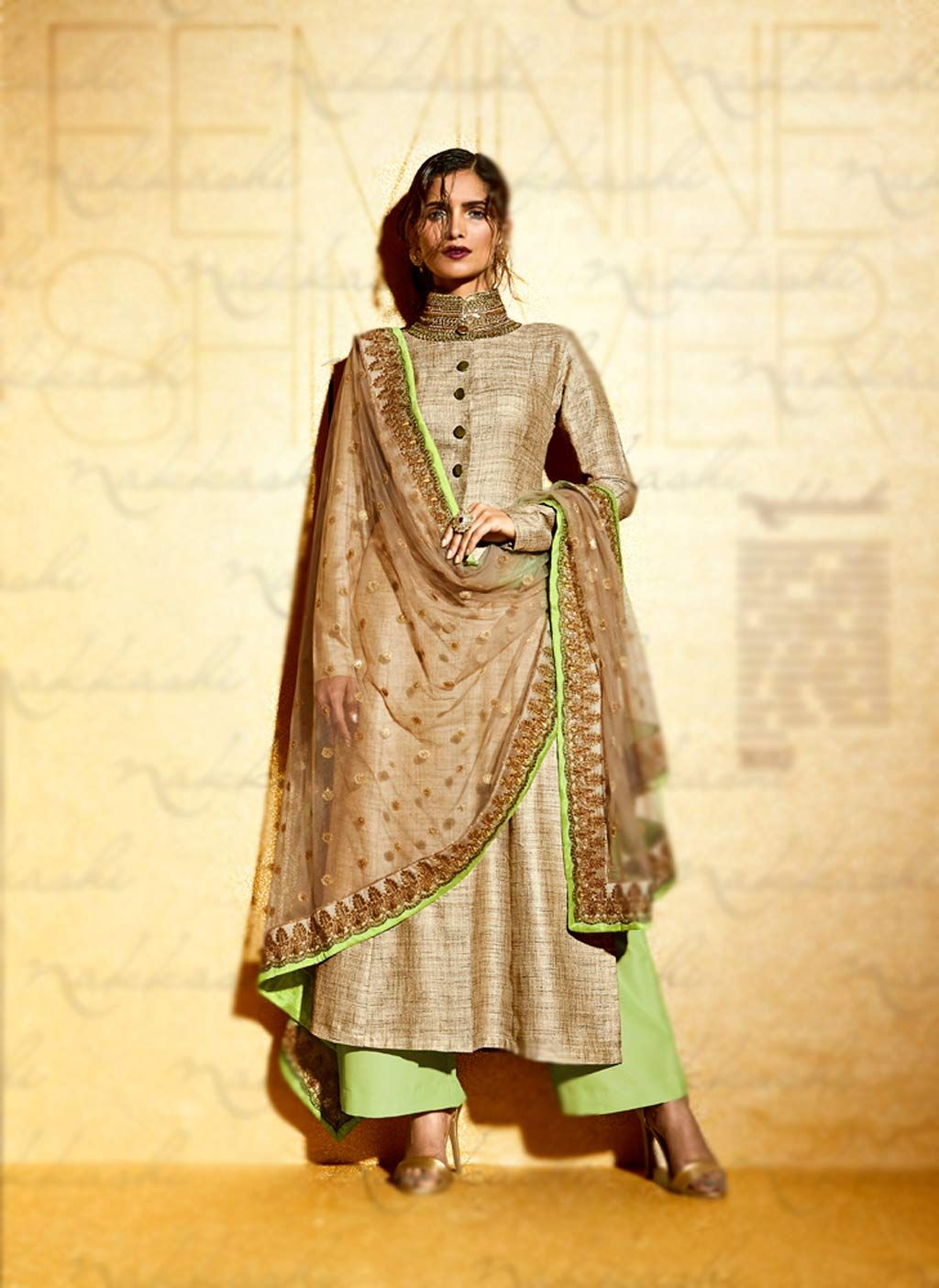 6c9b7d4294 Beige Khadi Palazzo Style Suit 69495 | suits & kurta | Indian ...