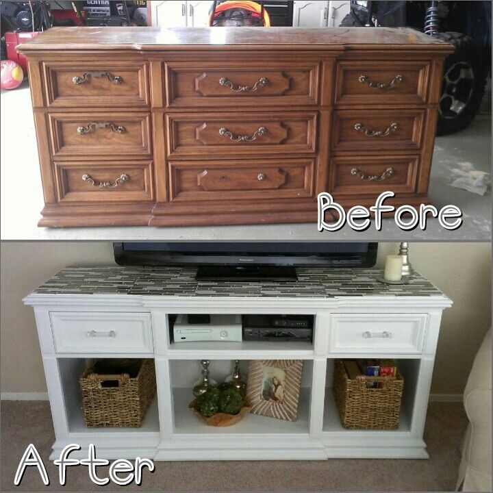 dresser to entertainment center before and after. Black Bedroom Furniture Sets. Home Design Ideas