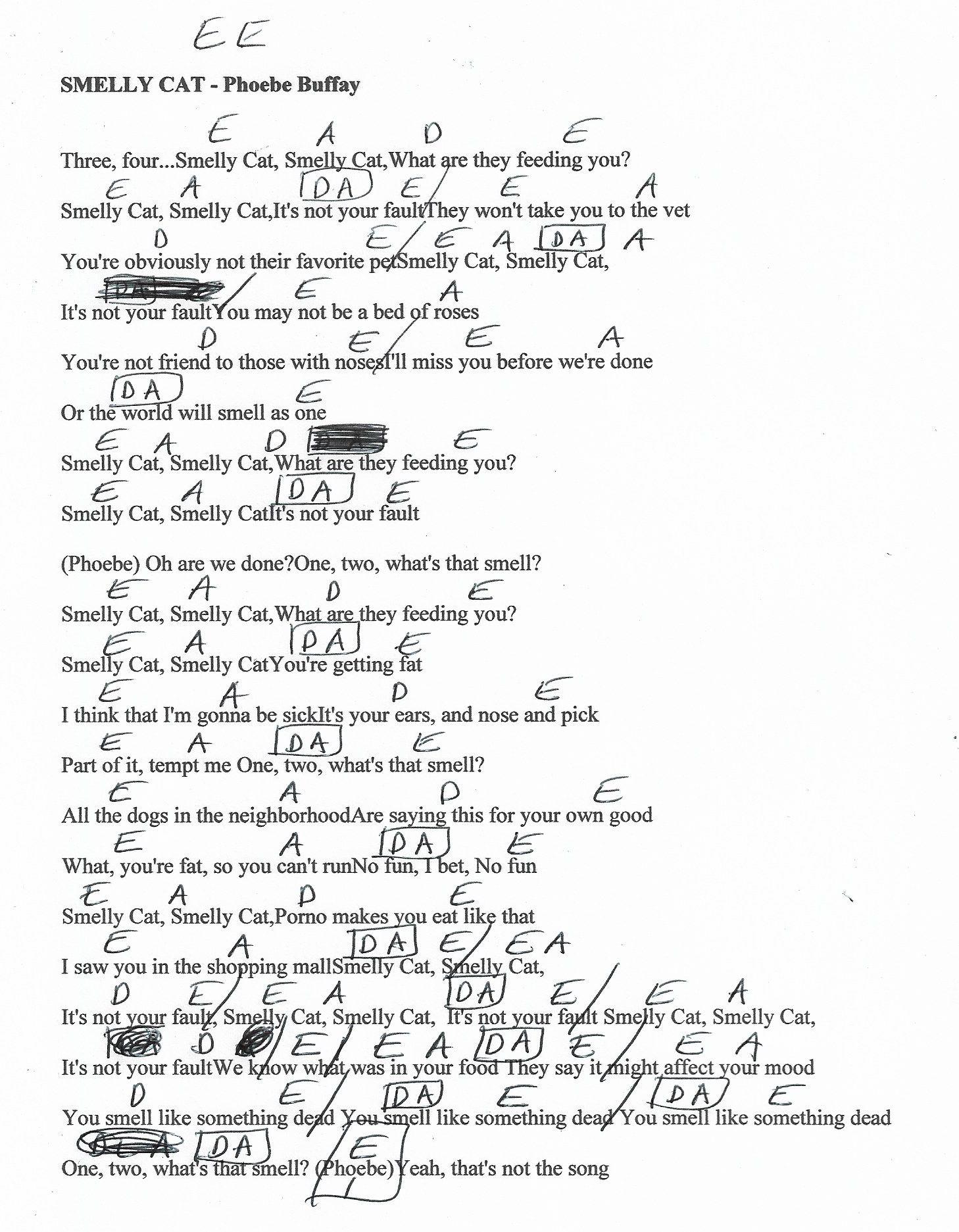 Smelly Cat Phoebe Buffay/Friends Guitar Chord Chart   Guitar ...