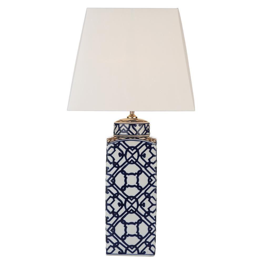 Dar Mys4223 Mystic Blue White Ceramic Geometric Pattern Table Lamp Base Only Table Lamp Base Ceramic Table Lamps Bedside Lamps Blue