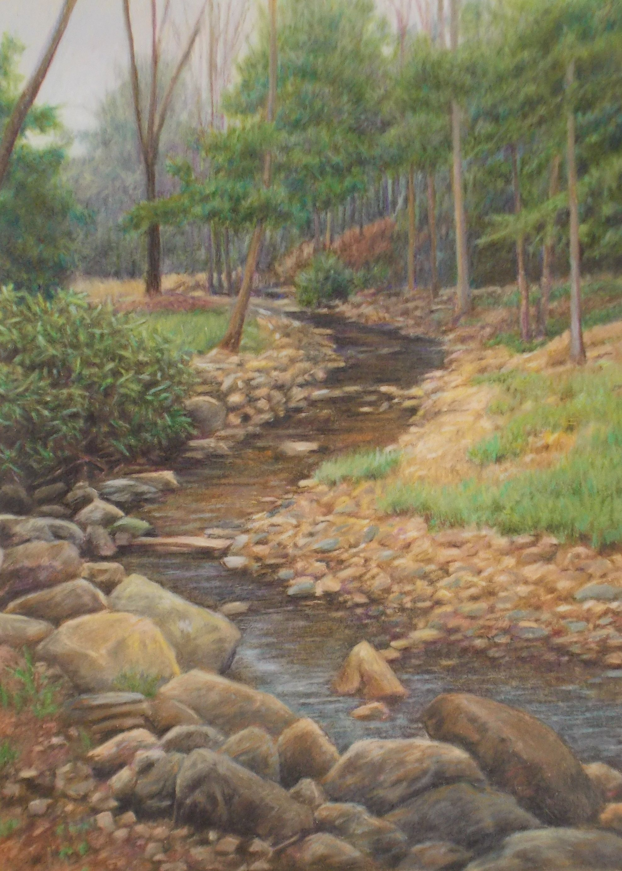 Landscape Drawing In Colored Pencil