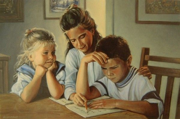 Emmanuel Garant... | Kai Fine Art - ( I love the look of the little girl on the left. )