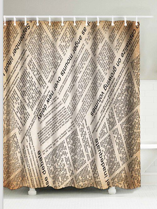 English Newspaper Polyester Waterproof Shower Curtain