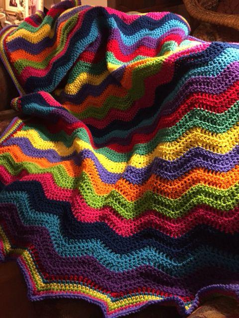 Crocheted zigzag/ripple stitch, multi-colored...