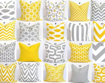 Gray Yellow PillowsALL SIZES Decorative Pillow by ElemenOPillows