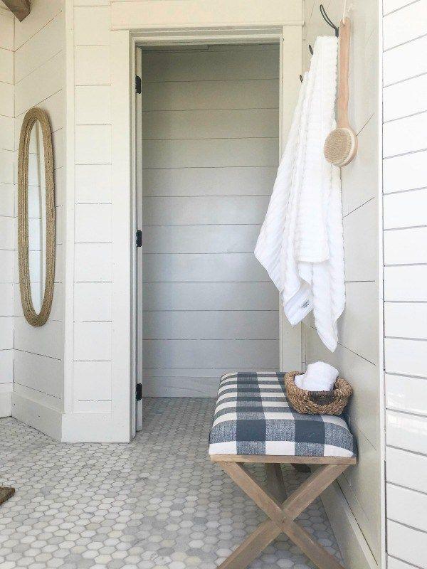 Blue Gray Bathroom Vanity with Shiplap Backsplash