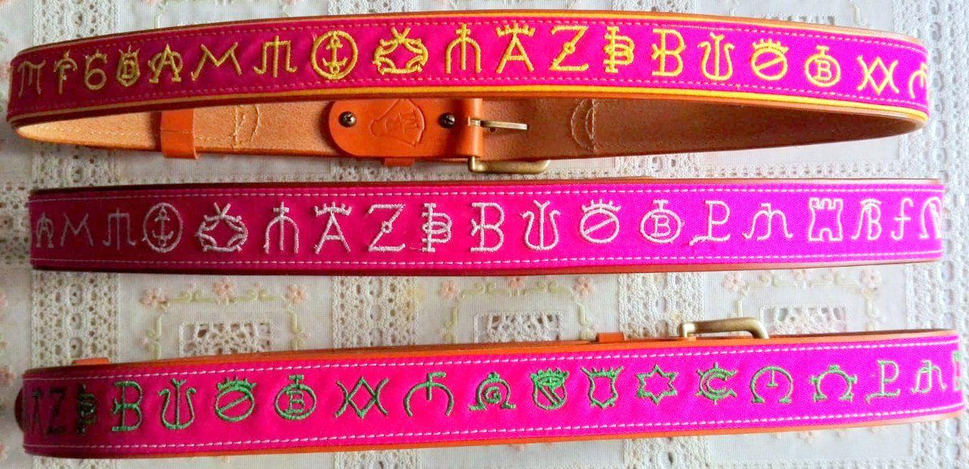 0396a775c Cinturones de auténtica tela del capote con bordados de hierros de  ganaderías taurinas y sobre cuero