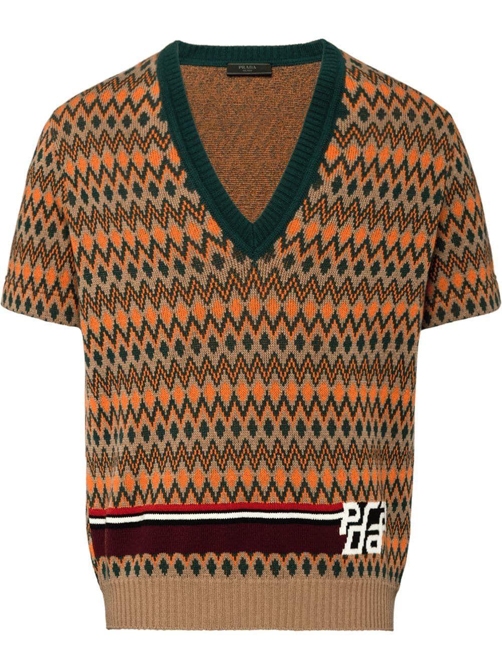 """e54e2105c553 PRADA"""" jacquard short sleeve sweater #F0040 CAMEL BROWN. £620.  UMA872S1821R87."""