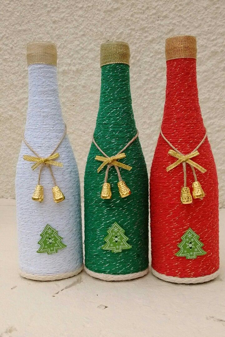 Botella decorada decorar botellas pinterest botellas - Botellas de vino decoradas para navidad ...