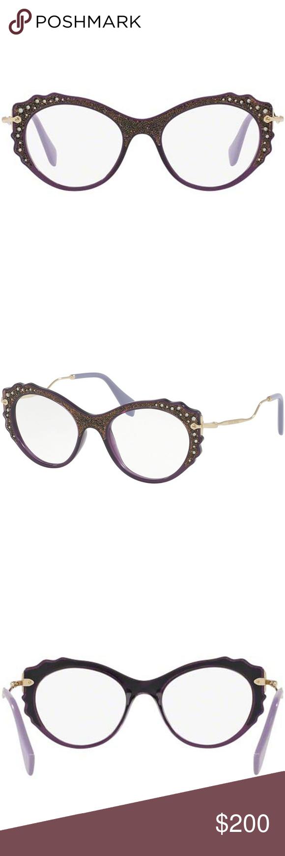 e7e379b7bf5d Miu Miu Cat Eye Crystals Eyeglasses Violet Brand  Miu Miu Model   MU01PV-USV1O1