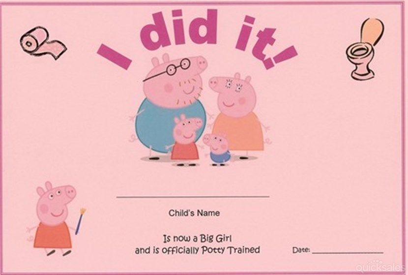 Peppa Pig Potty Training Certificate for Girls I did it! Baby