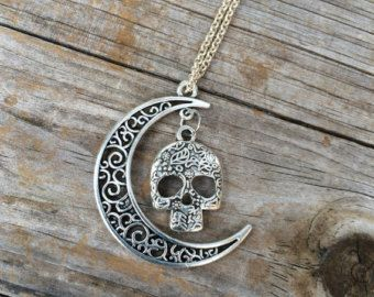 Skull Moon charm necklace, Halloween Necklace, Moon necklace, Boho Necklace, Indie Necklace