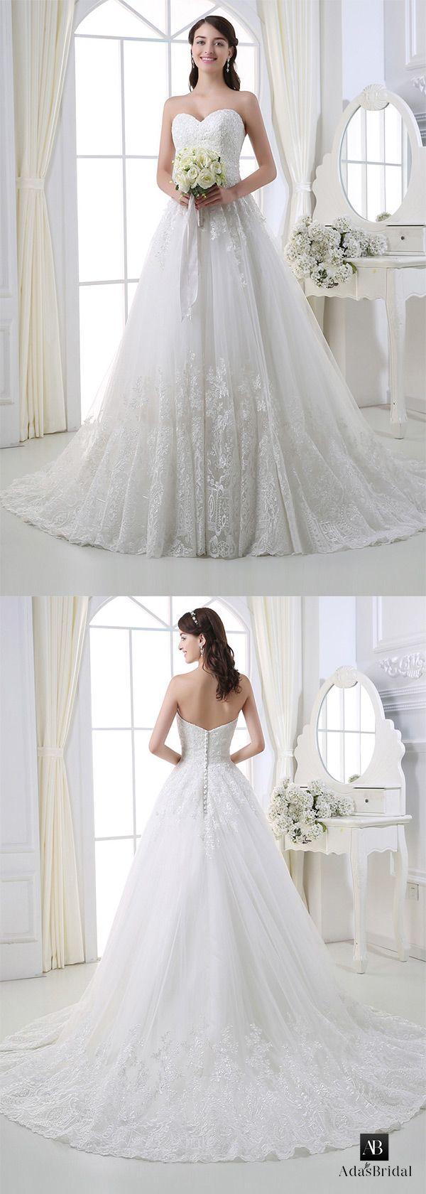 Sweetheart ball gown wedding dress  Elegant tulle sweetheart neckline ball gown wedding dress with lace