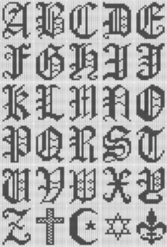 Ravelry: Filet Crochet Alphabet Script Chart pattern